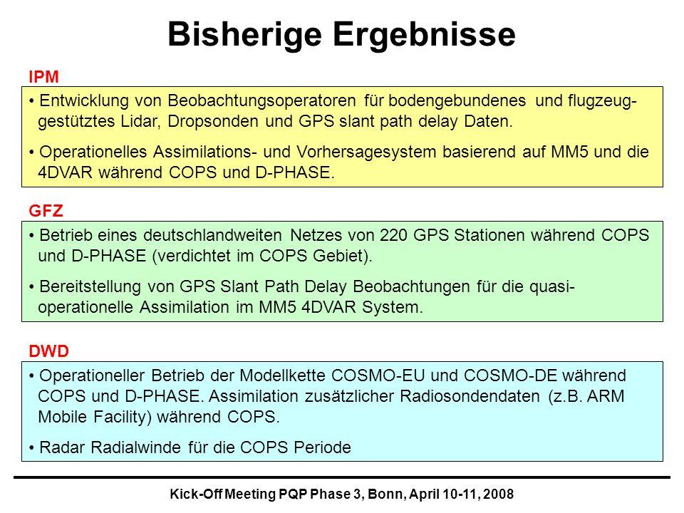 Kick-Off Meeting PQP Phase 3, Bonn, April 10-11, 2008 Bisherige Ergebnisse Entwicklung von Beobachtungsoperatoren für bodengebundenes und flugzeug- gestütztes Lidar, Dropsonden und GPS slant path delay Daten.