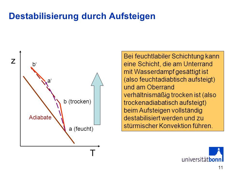 12 Überströmung bei unterschiedlicher Stabilität Stabile Schichtung Hebung reicht nicht zur Entstabilisierung Stabile Schichtung Hebung reicht zur Entstabilisierung