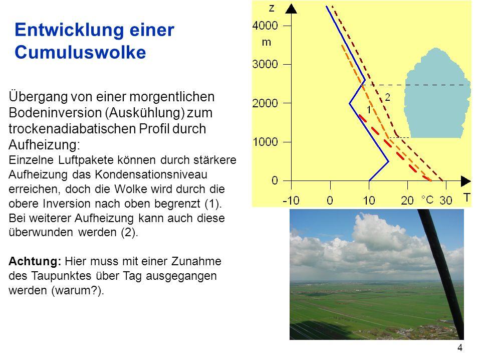 5 Doppelte Kondensationshöhe Zeit SA K1K1 K3K3 hier keine Wolkenbildung möglich T1T1 T2T2 T3T3 Das Temperaturprofil weist eine Inversion auf.