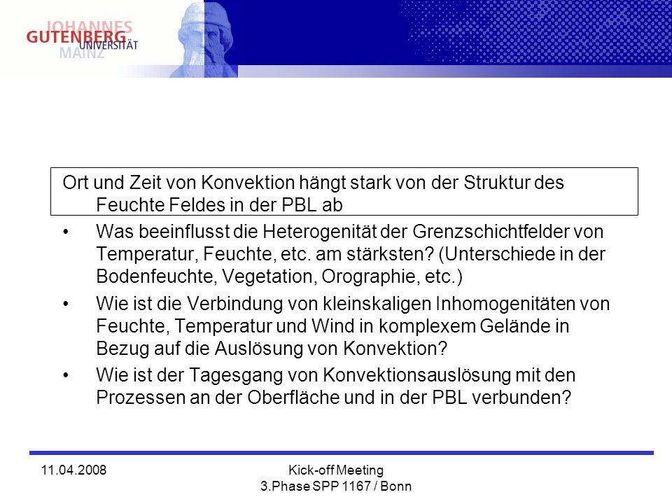11.04.2008Kick-off Meeting 3.Phase SPP 1167 / Bonn Ort und Zeit von Konvektion hängt stark von der Struktur des Feuchte Feldes in der PBL ab Was beein
