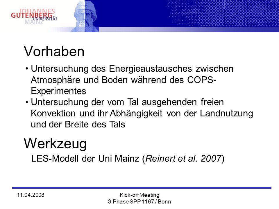 11.04.2008Kick-off Meeting 3.Phase SPP 1167 / Bonn Vorhaben Untersuchung des Energieaustausches zwischen Atmosphäre und Boden während des COPS- Experimentes Untersuchung der vom Tal ausgehenden freien Konvektion und ihr Abhängigkeit von der Landnutzung und der Breite des Tals Werkzeug LES-Modell der Uni Mainz (Reinert et al.