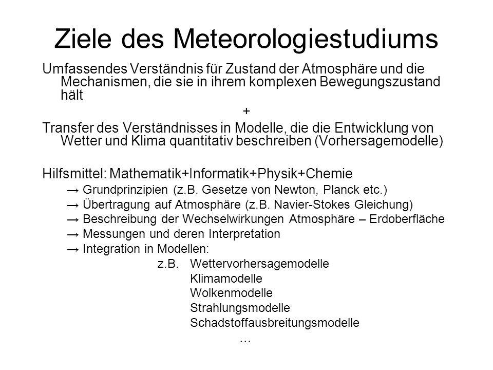 Diplom- Meteorologe/MeteoroIogin 10 Universitäten (Diplom (Master)) 50 – 100 Abschlüsse/Jahr Deutscher Wetterdienst Private Wetteranbieter Forschungsinstitute und Hochschulen Satellitenentwickler/-betreiber (EUMETSAT, ESA, …) Umweltämter Versicherungen Industrie …