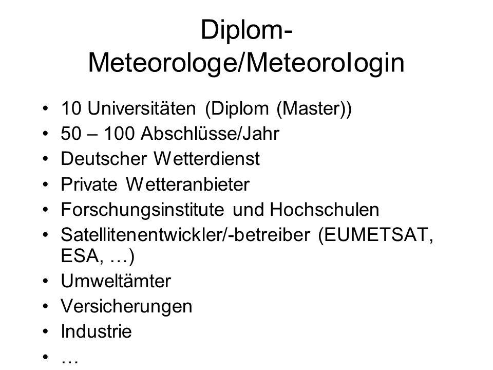 Diplom- Meteorologe/MeteoroIogin 10 Universitäten (Diplom (Master)) 50 – 100 Abschlüsse/Jahr Deutscher Wetterdienst Private Wetteranbieter Forschungsi