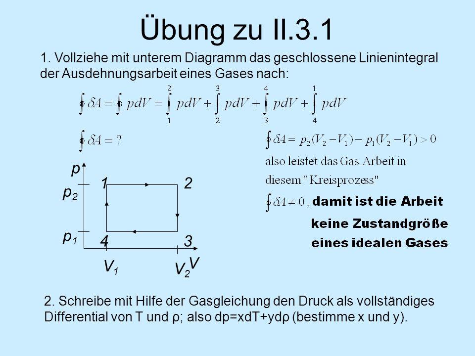 Übung zu II.3.1 2 V V1V1 V2V2 p2p2 p1p1 p 3 1 4 1. Vollziehe mit unterem Diagramm das geschlossene Linienintegral der Ausdehnungsarbeit eines Gases na