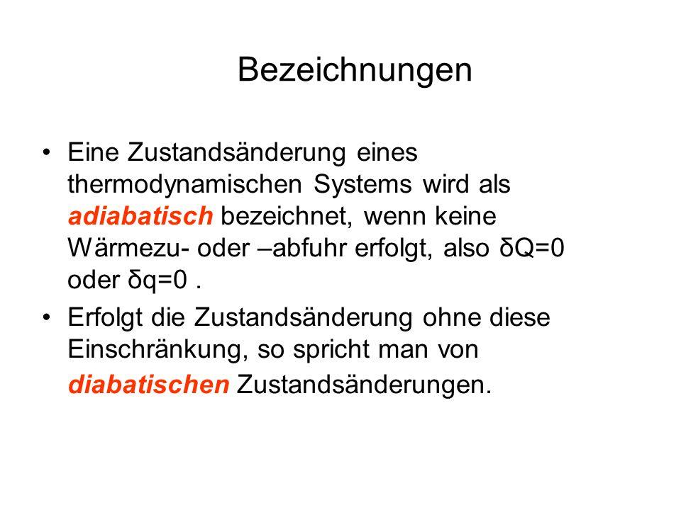 Bezeichnungen Eine Zustandsänderung eines thermodynamischen Systems wird als adiabatisch bezeichnet, wenn keine Wärmezu- oder –abfuhr erfolgt, also δQ