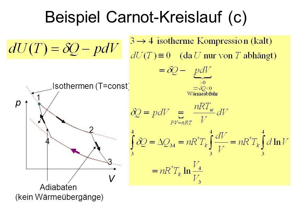 Beispiel Carnot-Kreislauf (c) p V 1 4 3 2 Isothermen (T=const) Adiabaten (kein Wärmeübergänge)