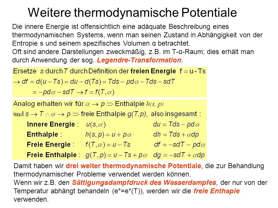 Weitere thermodynamische Potentiale Die innere Energie ist offensichtlich eine adäquate Beschreibung eines thermodynamischen Systems, wenn man seinen