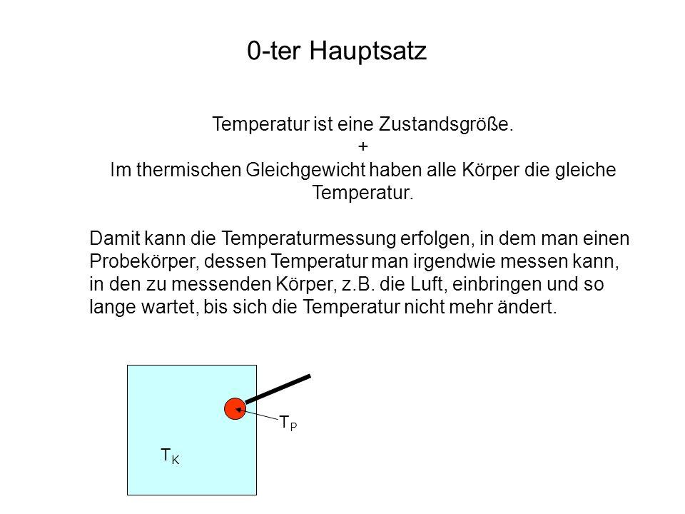 0-ter Hauptsatz Temperatur ist eine Zustandsgröße. + Im thermischen Gleichgewicht haben alle Körper die gleiche Temperatur. Damit kann die Temperaturm