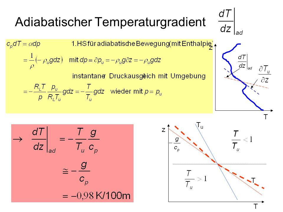 Adiabatischer Temperaturgradient T z T z TuTu T