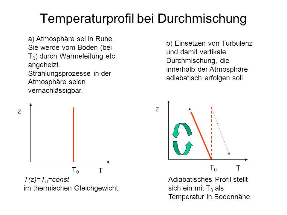 Temperaturprofil bei Durchmischung a) Atmosphäre sei in Ruhe. Sie werde vom Boden (bei T 0 ) durch Wärmeleitung etc. angeheizt. Strahlungsprozesse in