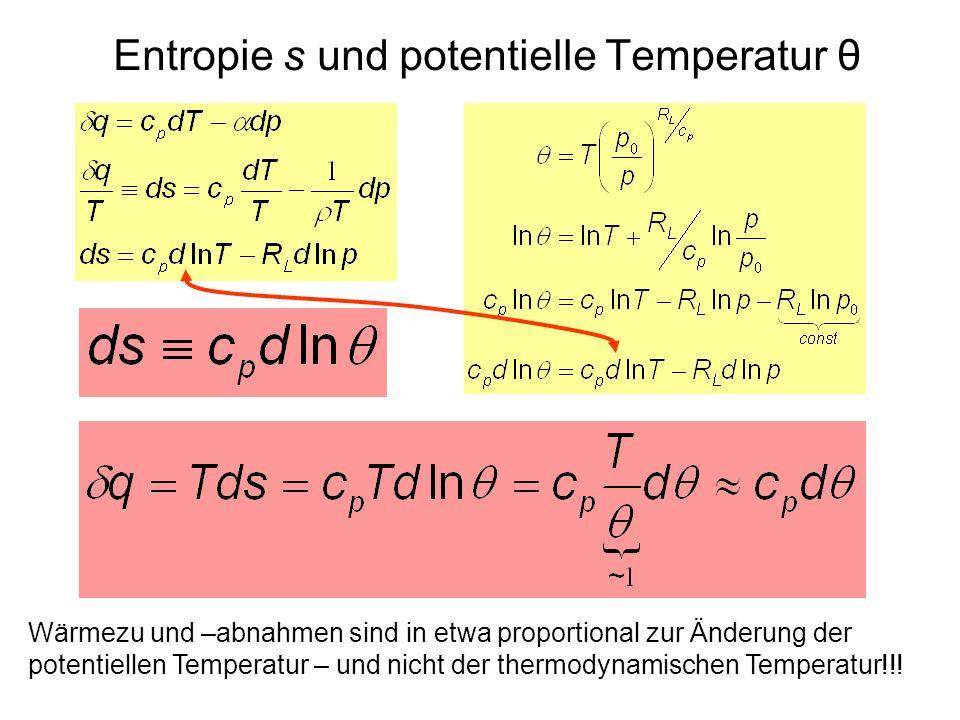 Entropie s und potentielle Temperatur θ Wärmezu und –abnahmen sind in etwa proportional zur Änderung der potentiellen Temperatur – und nicht der therm