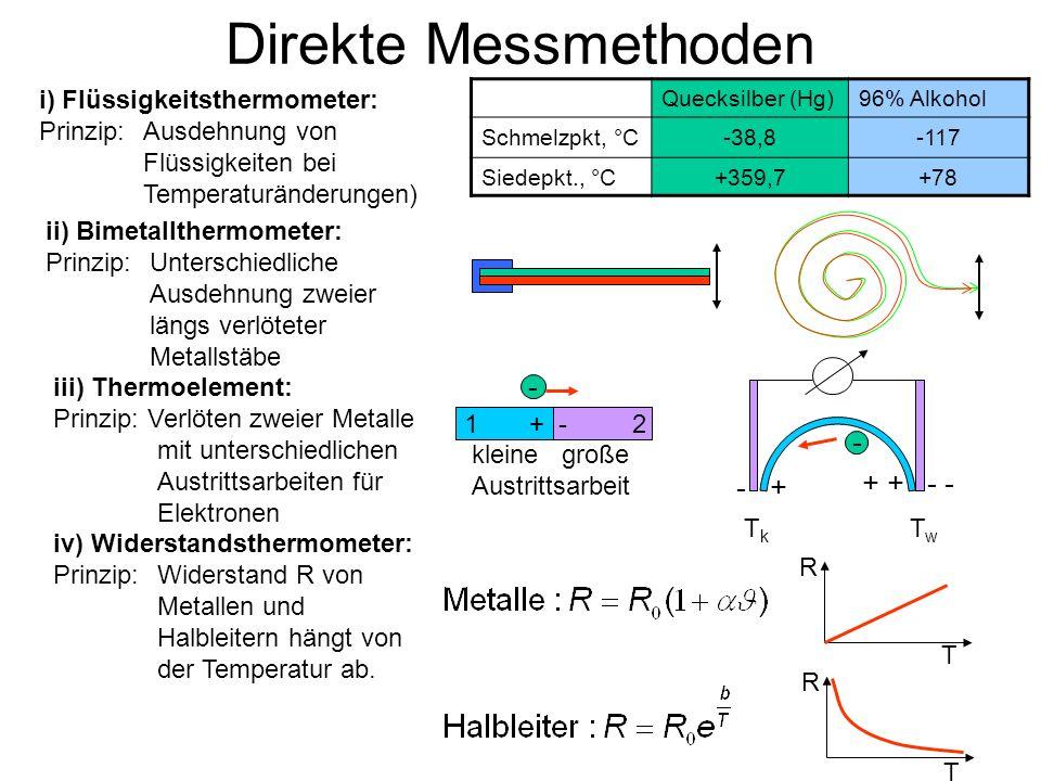 Direkte Messmethoden i) Flüssigkeitsthermometer: Prinzip:Ausdehnung von Flüssigkeiten bei Temperaturänderungen) Quecksilber (Hg)96% Alkohol Schmelzpkt