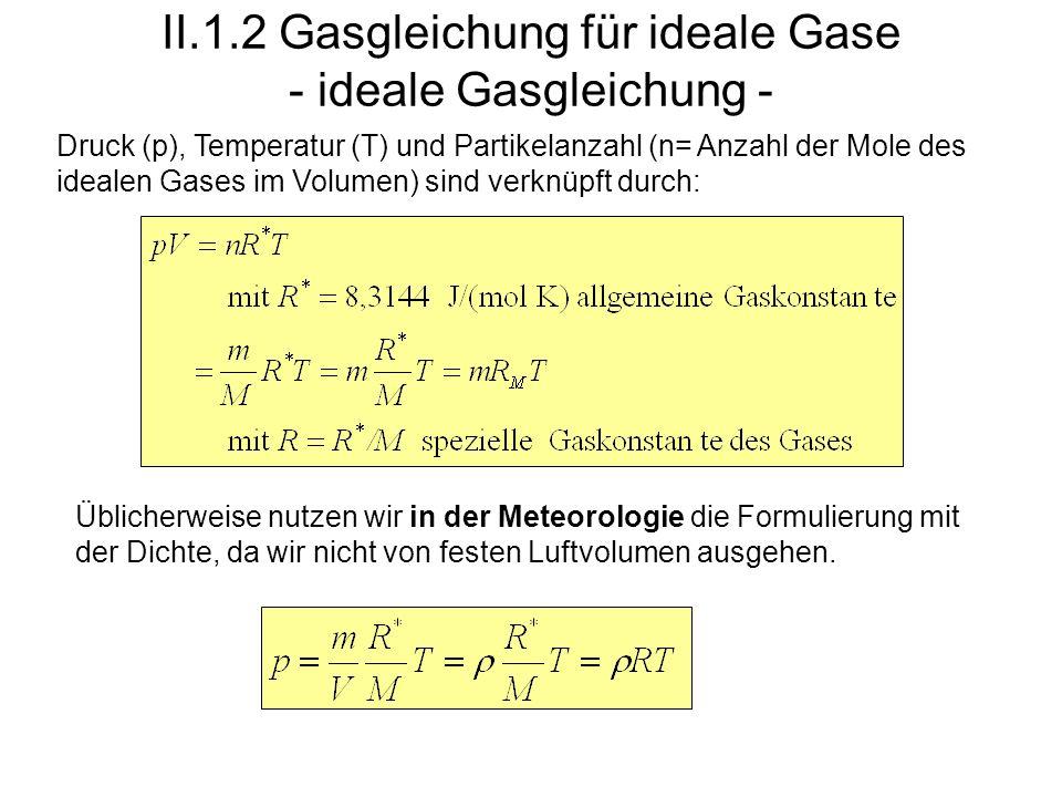 II.1.2 Gasgleichung für ideale Gase - ideale Gasgleichung - Druck (p), Temperatur (T) und Partikelanzahl (n= Anzahl der Mole des idealen Gases im Volu