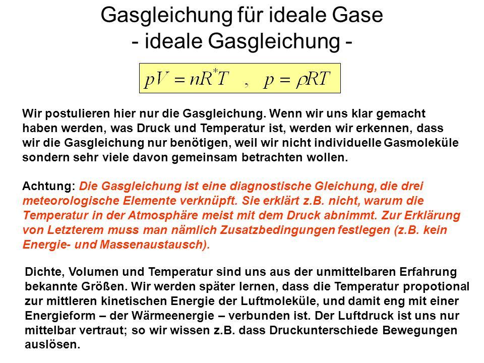 Gasgleichung für ideale Gase - ideale Gasgleichung - Wir postulieren hier nur die Gasgleichung. Wenn wir uns klar gemacht haben werden, was Druck und