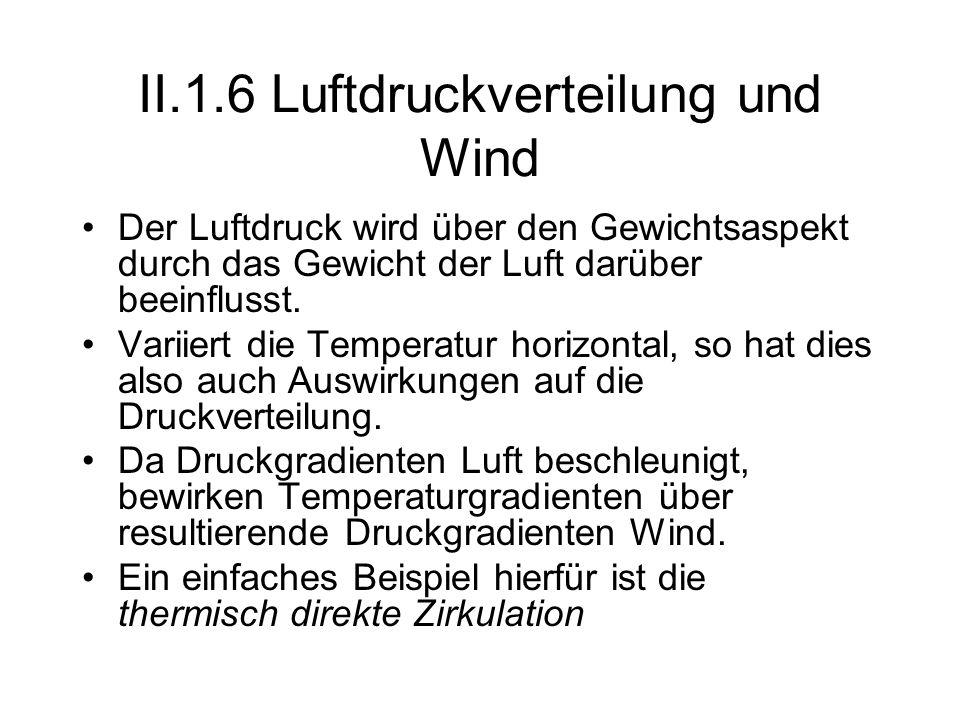 II.1.6 Luftdruckverteilung und Wind Der Luftdruck wird über den Gewichtsaspekt durch das Gewicht der Luft darüber beeinflusst. Variiert die Temperatur