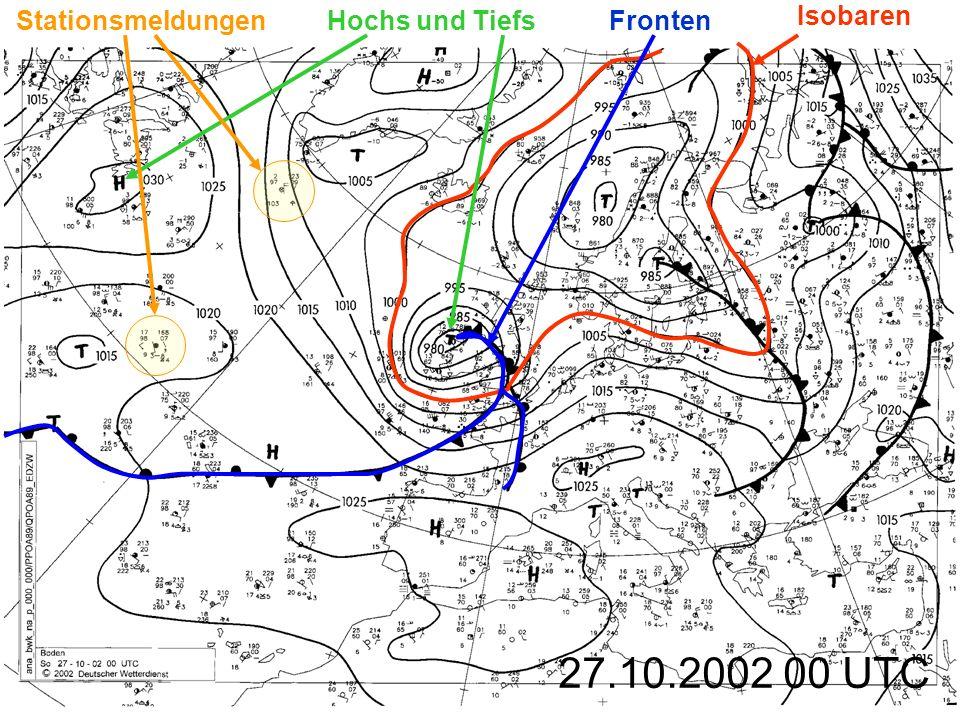 27.10.2002 00 UTC Isobaren Fronten Hochs und TiefsStationsmeldungen