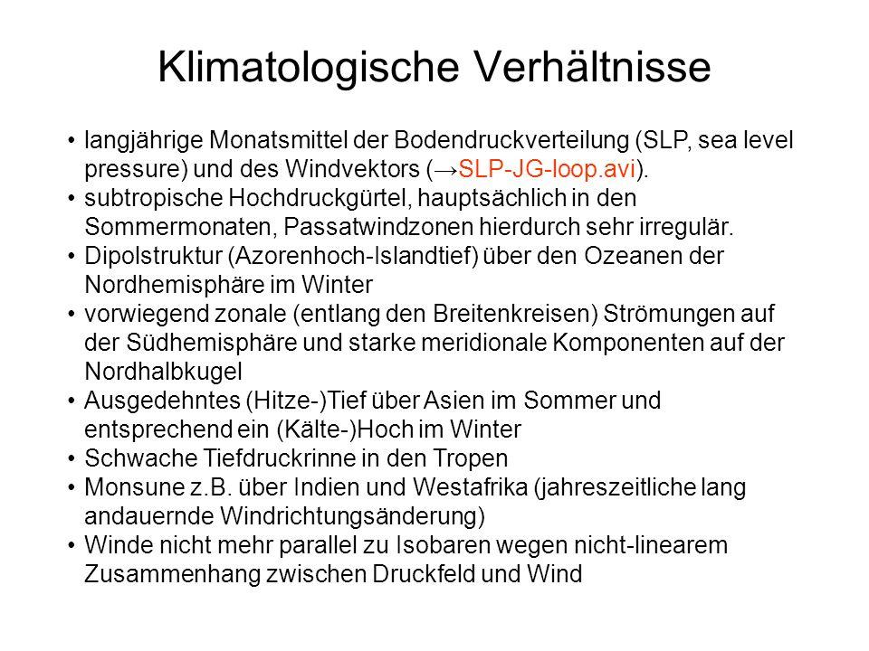langjährige Monatsmittel der Bodendruckverteilung (SLP, sea level pressure) und des Windvektors (SLP-JG-loop.avi). subtropische Hochdruckgürtel, haupt