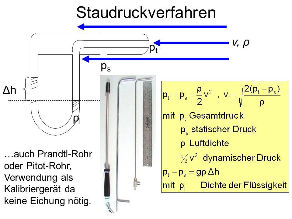 Staudruckverfahren ΔhΔh …auch Prandtl-Rohr oder Pitot-Rohr, Verwendung als Kalibriergerät da keine Eichung nötig. v, ρ ptpt psps ρlρl