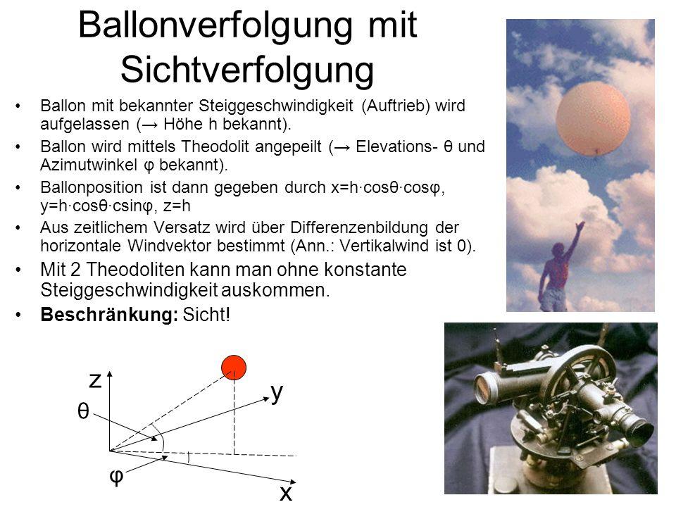 Ballonverfolgung mit Sichtverfolgung Ballon mit bekannter Steiggeschwindigkeit (Auftrieb) wird aufgelassen ( Höhe h bekannt). Ballon wird mittels Theo