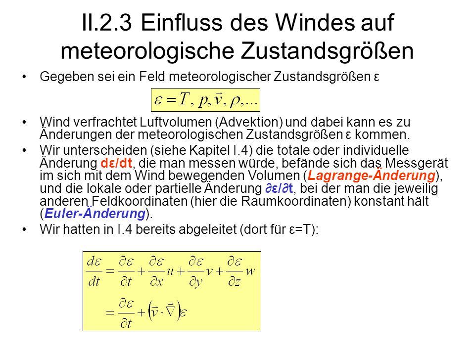 II.2.3 Einfluss des Windes auf meteorologische Zustandsgrößen Gegeben sei ein Feld meteorologischer Zustandsgrößen ε Wind verfrachtet Luftvolumen (Adv