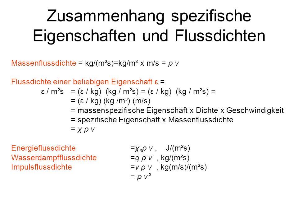 Zusammenhang spezifische Eigenschaften und Flussdichten Massenflussdichte = kg/(m²s)=kg/m³ x m/s = ρ v Flussdichte einer beliebigen Eigenschaft ε = ε