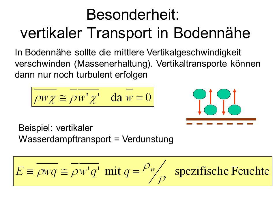 Besonderheit: vertikaler Transport in Bodennähe In Bodennähe sollte die mittlere Vertikalgeschwindigkeit verschwinden (Massenerhaltung). Vertikaltrans