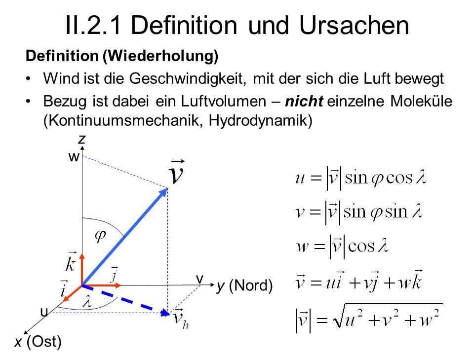 II.2.1 Definition und Ursachen Definition (Wiederholung) Wind ist die Geschwindigkeit, mit der sich die Luft bewegt Bezug ist dabei ein Luftvolumen –