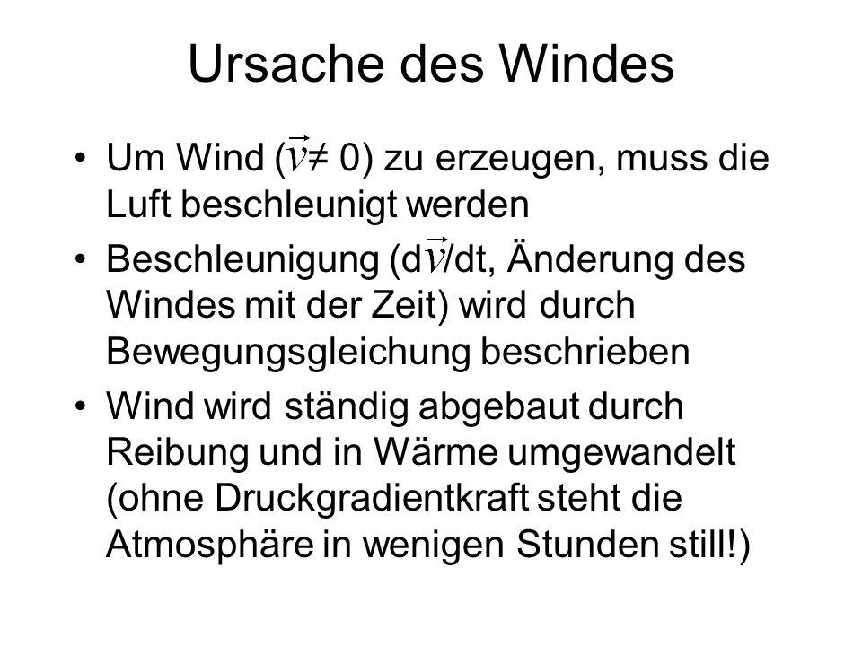 Ursache des Windes Um Wind ( 0) zu erzeugen, muss die Luft beschleunigt werden Beschleunigung (d /dt, Änderung des Windes mit der Zeit) wird durch Bew
