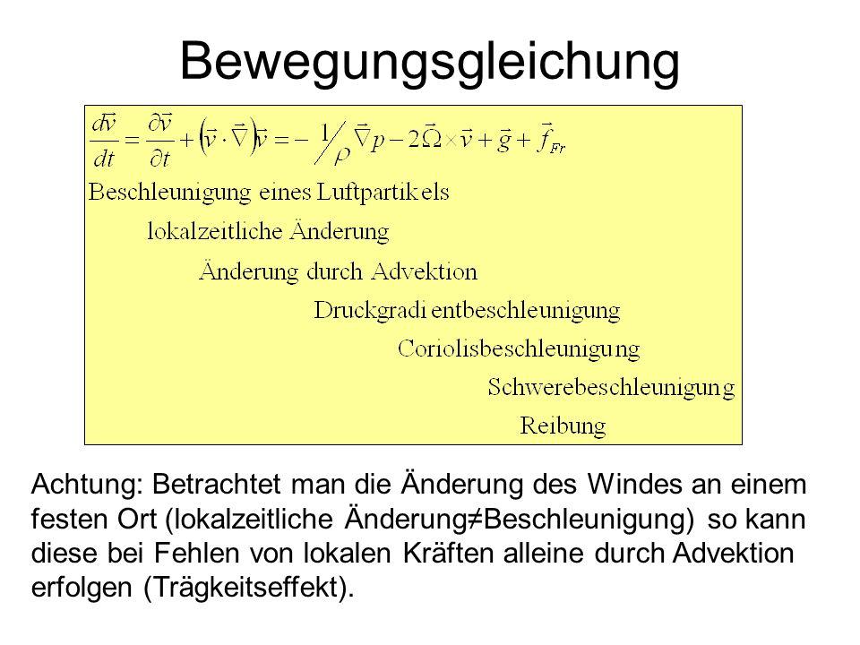 Bewegungsgleichung Achtung: Betrachtet man die Änderung des Windes an einem festen Ort (lokalzeitliche ÄnderungBeschleunigung) so kann diese bei Fehle