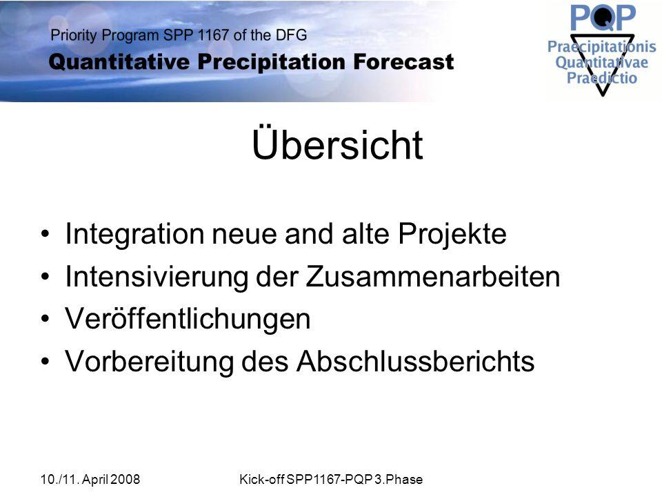 10./11. April 2008Kick-off SPP1167-PQP 3.Phase Übersicht Integration neue and alte Projekte Intensivierung der Zusammenarbeiten Veröffentlichungen Vor
