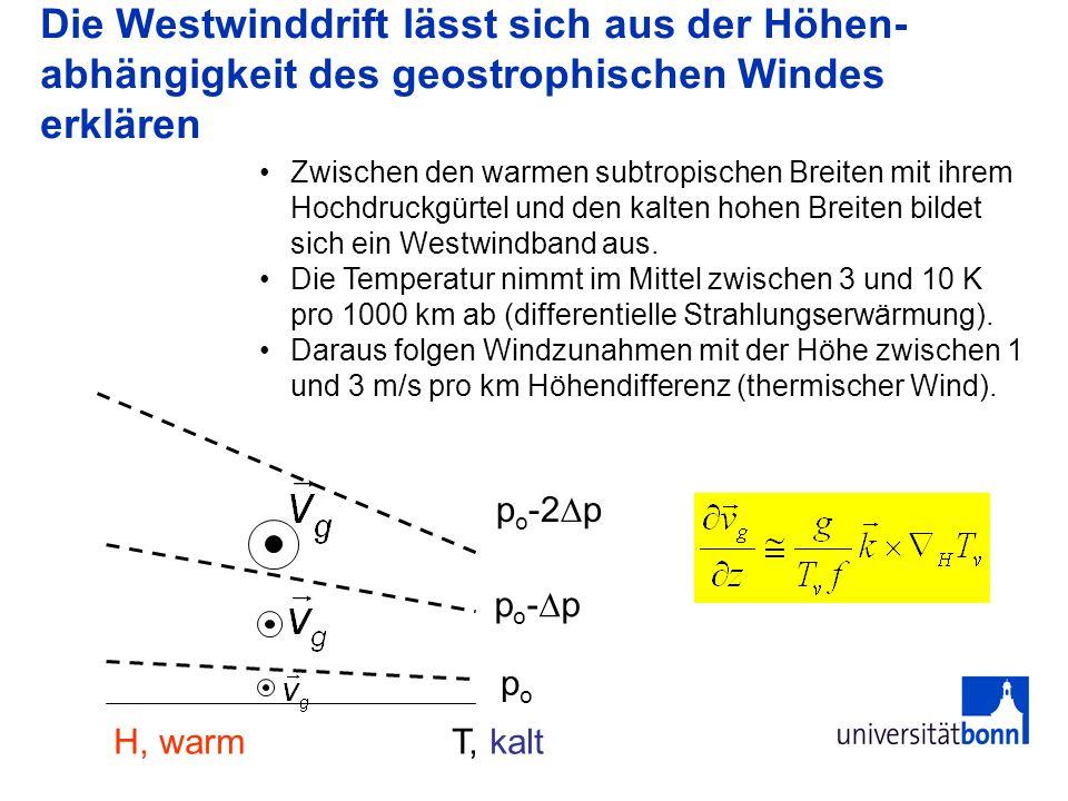 Die Westwinddrift lässt sich aus der Höhen- abhängigkeit des geostrophischen Windes erklären popo H, warm T, kalt p o - p p o -2 p Zwischen den warmen