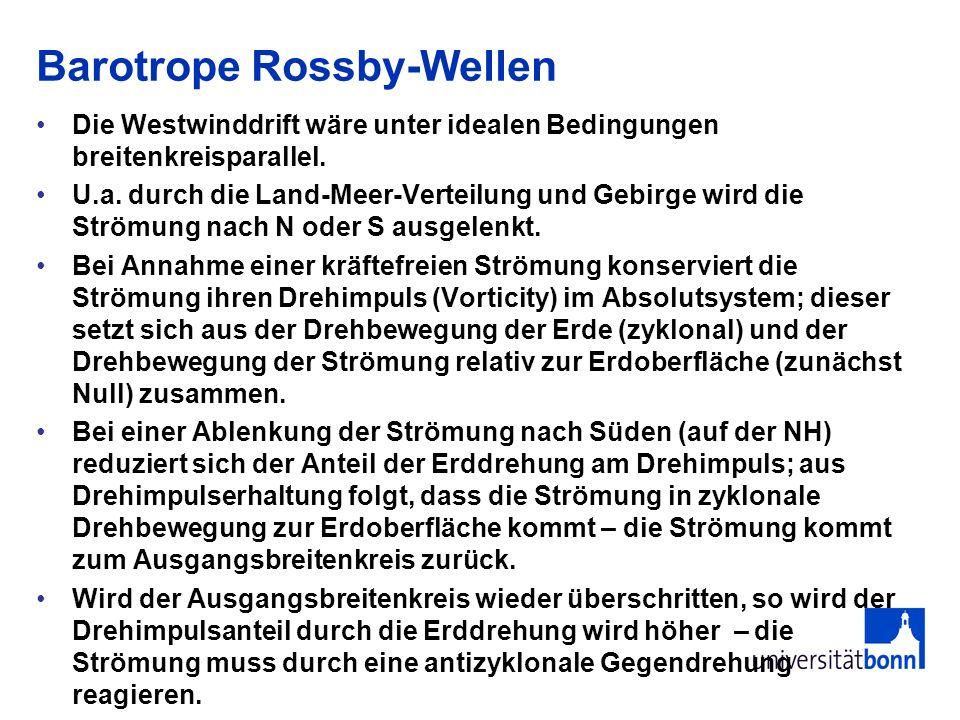 Barotrope Rossby-Wellen Die Westwinddrift wäre unter idealen Bedingungen breitenkreisparallel. U.a. durch die Land-Meer-Verteilung und Gebirge wird di