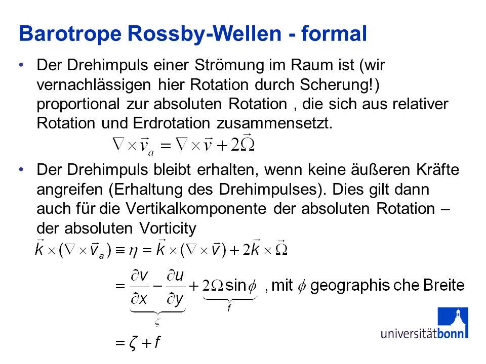 Barotrope Rossby-Wellen - formal Der Drehimpuls einer Strömung im Raum ist (wir vernachlässigen hier Rotation durch Scherung!) proportional zur absolu