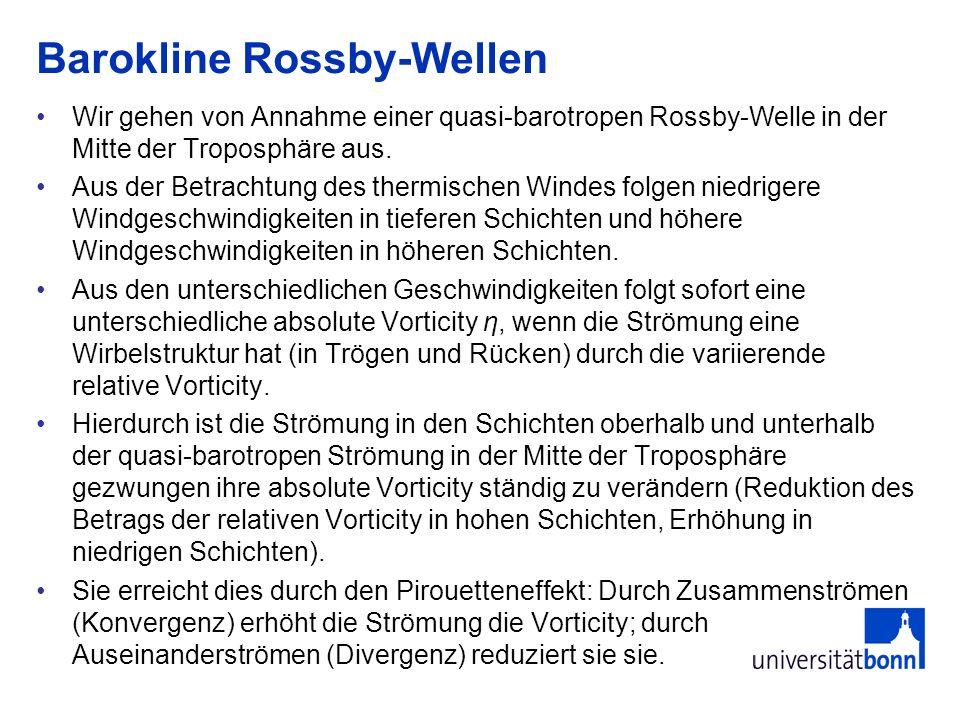 Barokline Rossby-Wellen Wir gehen von Annahme einer quasi-barotropen Rossby-Welle in der Mitte der Troposphäre aus. Aus der Betrachtung des thermische
