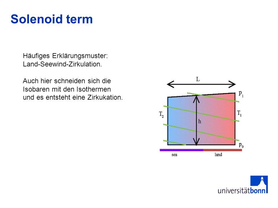 Solenoid term Häufiges Erklärungsmuster: Land-Seewind-Zirkulation. Auch hier schneiden sich die Isobaren mit den Isothermen und es entsteht eine Zirku