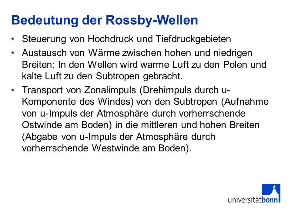 Bedeutung der Rossby-Wellen Steuerung von Hochdruck und Tiefdruckgebieten Austausch von Wärme zwischen hohen und niedrigen Breiten: In den Wellen wird