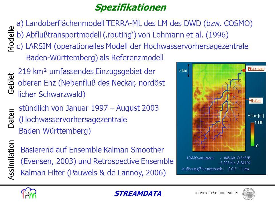STREAMDATA - Vorbereitung der Modelle und Eingangsdaten - Kopplung des TERRA-ML mit dem Abflußtransportmodell (ROUTING) - Modellläufe mit LARSIM und TERRA-ML/ROUTING für 1997 im Einzugsgebiet der oberen Enz auf 1 km² Gitter => Ergebnisse führen zur Verwendung anderer Parametrisierung für vertikale Bodenwasserflüsse und anderem Bodendatensatz als beim LM => Publikation Warrach et al., 2008, eingereicht bei Met.