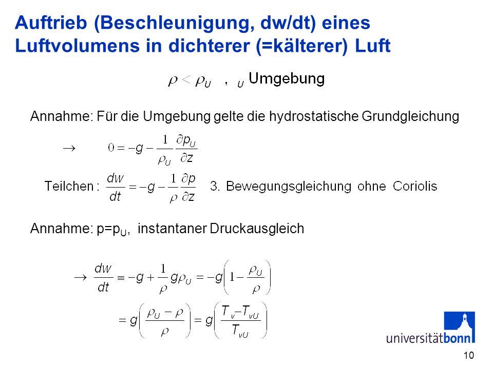10 Auftrieb (Beschleunigung, dw/dt) eines Luftvolumens in dichterer (=kälterer) Luft Annahme: Für die Umgebung gelte die hydrostatische Grundgleichung