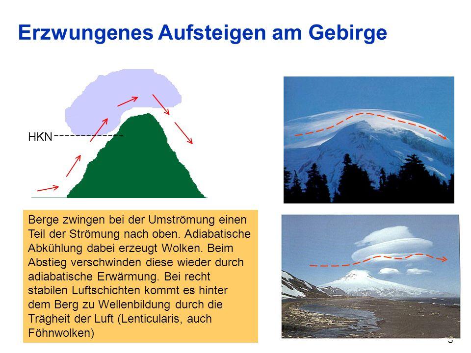 5 Erzwungenes Aufsteigen am Gebirge HKN Berge zwingen bei der Umströmung einen Teil der Strömung nach oben. Adiabatische Abkühlung dabei erzeugt Wolke