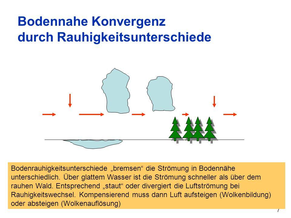 7 Bodennahe Konvergenz durch Rauhigkeitsunterschiede Bodenrauhigkeitsunterschiede bremsen die Strömung in Bodennähe unterschiedlich. Über glattem Wass
