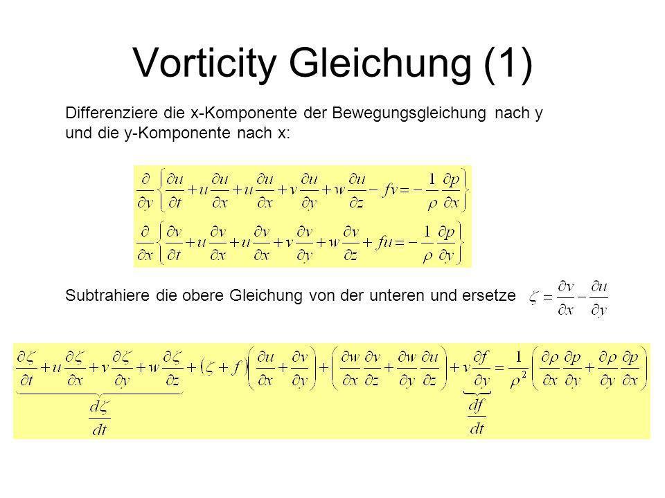 Vorticity Gleichung (1) Differenziere die x-Komponente der Bewegungsgleichung nach y und die y-Komponente nach x: Subtrahiere die obere Gleichung von
