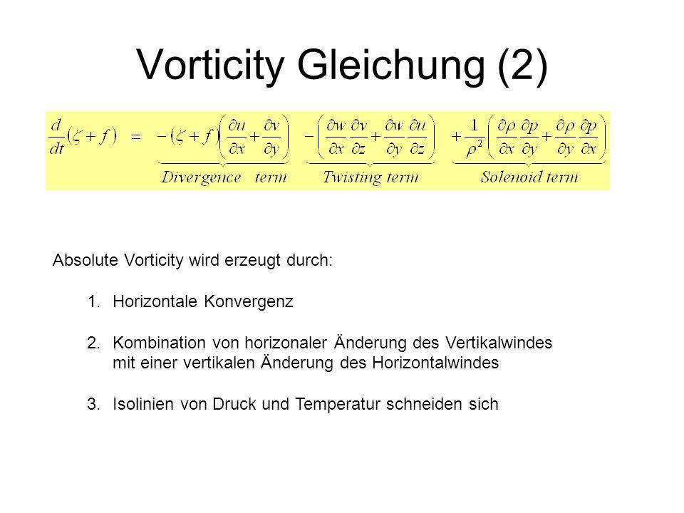 Vorticity Gleichung (2) Absolute Vorticity wird erzeugt durch: 1.Horizontale Konvergenz 2.Kombination von horizonaler Änderung des Vertikalwindes mit