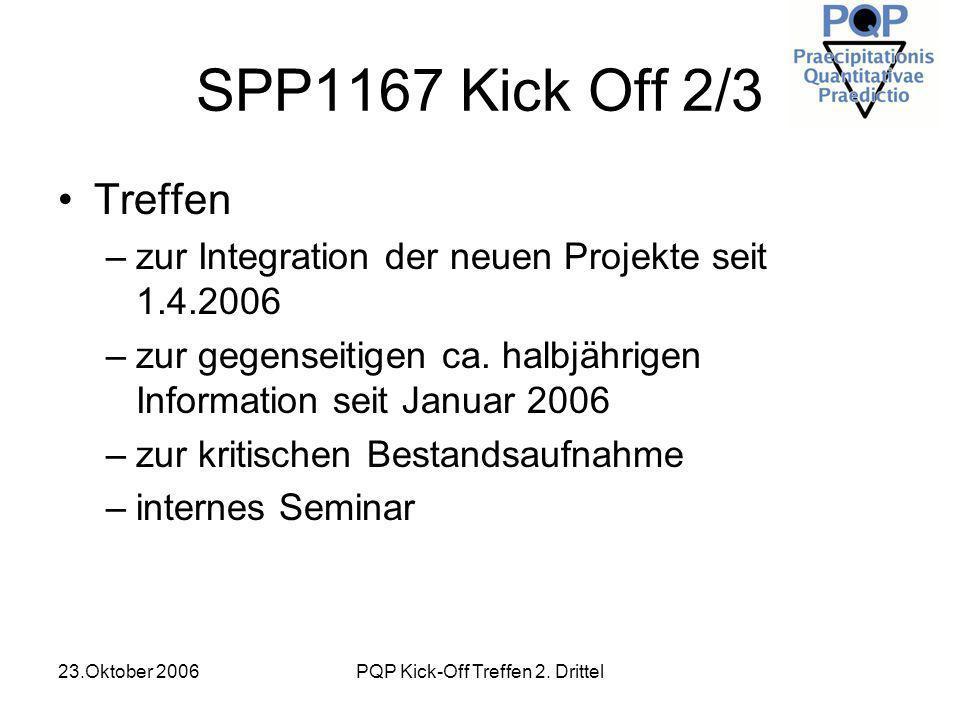 23.Oktober 2006PQP Kick-Off Treffen 2. Drittel SPP1167 Kick Off 2/3 Treffen –zur Integration der neuen Projekte seit 1.4.2006 –zur gegenseitigen ca. h