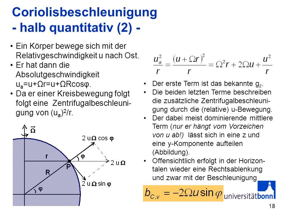 18 Coriolisbeschleunigung - halb quantitativ (2) - Ein Körper bewege sich mit der Relativgeschwindigkeit u nach Ost. Er hat dann die Absolutgeschwindi