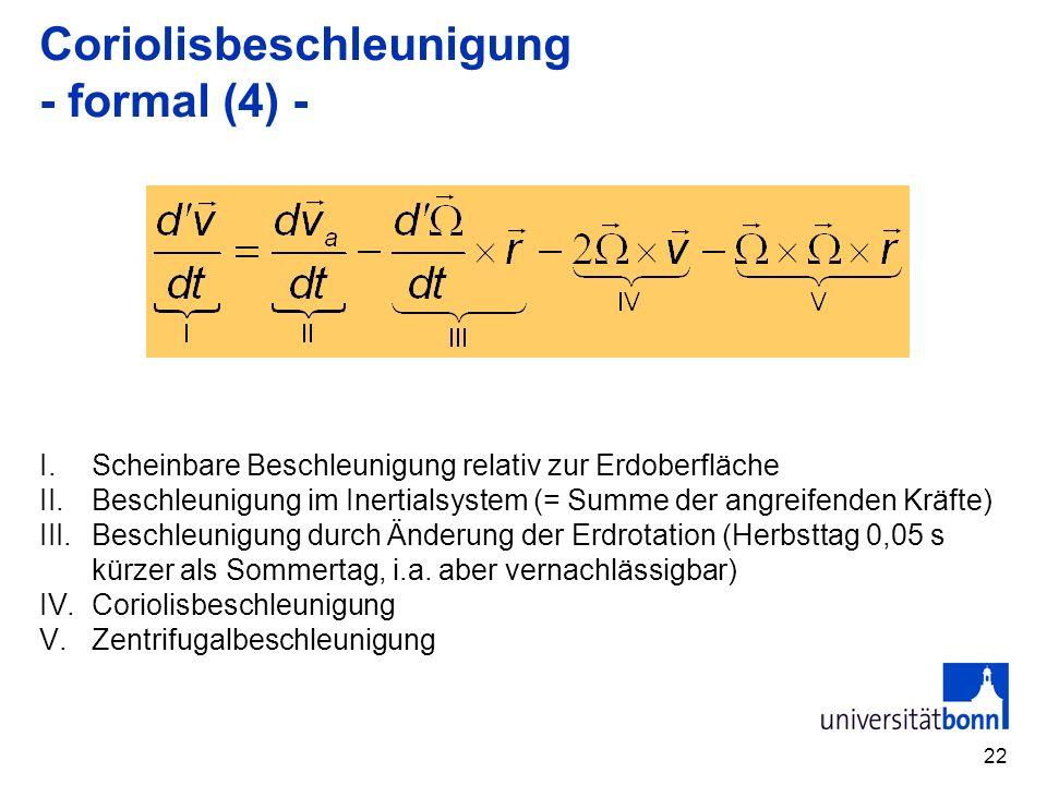 22 Coriolisbeschleunigung - formal (4) - I.Scheinbare Beschleunigung relativ zur Erdoberfläche II.Beschleunigung im Inertialsystem (= Summe der angrei