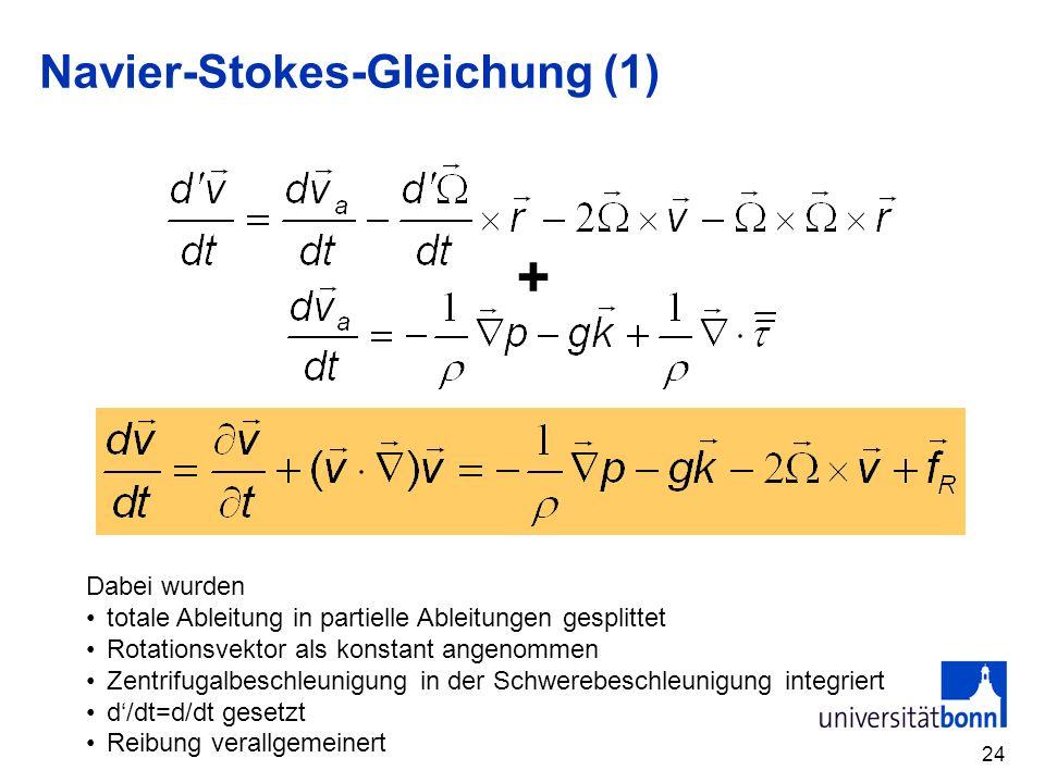24 Navier-Stokes-Gleichung (1) + Dabei wurden totale Ableitung in partielle Ableitungen gesplittet Rotationsvektor als konstant angenommen Zentrifugalbeschleunigung in der Schwerebeschleunigung integriert d/dt=d/dt gesetzt Reibung verallgemeinert