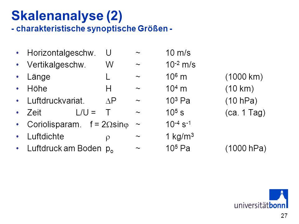 27 Skalenanalyse (2) - charakteristische synoptische Größen - Horizontalgeschw.U~ 10 m/s Vertikalgeschw.W~10 -2 m/s LängeL~10 6 m(1000 km) HöheH~10 4 m(10 km) Luftdruckvariat.
