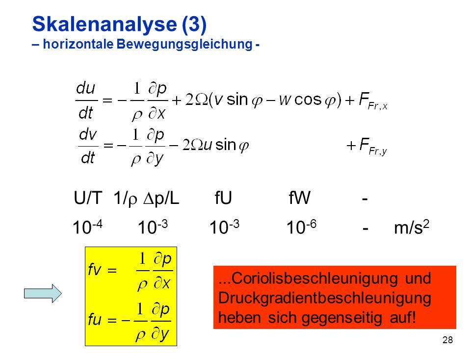28 Skalenanalyse (3) – horizontale Bewegungsgleichung - U/T 1/ p/L fU fW - 10 -4 10 -3 10 -3 10 -6 - m/s 2...Coriolisbeschleunigung und Druckgradientbeschleunigung heben sich gegenseitig auf!