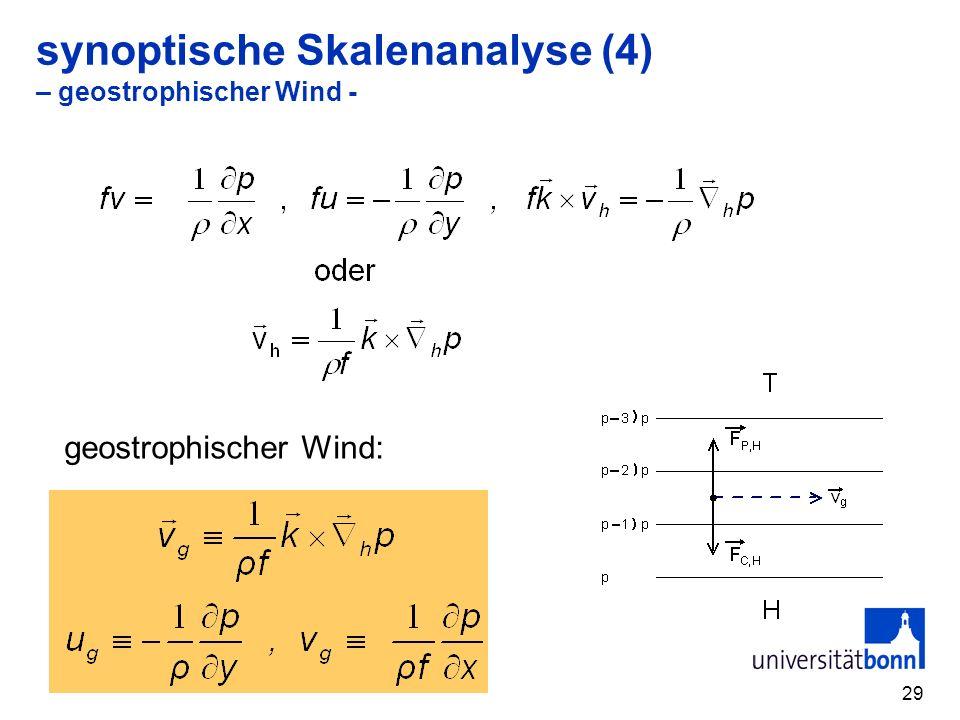29 synoptische Skalenanalyse (4) – geostrophischer Wind - geostrophischer Wind: