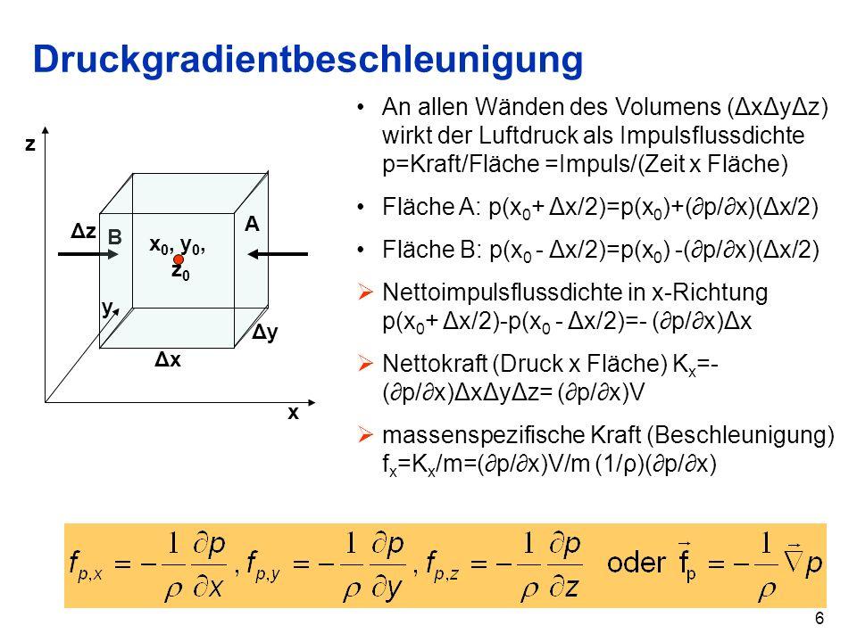 6 Druckgradientbeschleunigung B A x 0, y 0, z 0 ΔxΔx ΔzΔz ΔyΔy x z y An allen Wänden des Volumens (ΔxΔyΔz) wirkt der Luftdruck als Impulsflussdichte p=Kraft/Fläche =Impuls/(Zeit x Fläche) Fläche A: p(x 0 + Δx/2)=p(x 0 )+(p/x)(Δx/2) Fläche B: p(x 0 - Δx/2)=p(x 0 ) -(p/x)(Δx/2) Nettoimpulsflussdichte in x-Richtung p(x 0 + Δx/2)-p(x 0 - Δx/2)=- (p/x)Δx Nettokraft (Druck x Fläche) K x = (p/x)ΔxΔyΔz= (p/x)V massenspezifische Kraft (Beschleunigung) f x =K x /m=(p/x)V/m (1/ρ)(p/x)